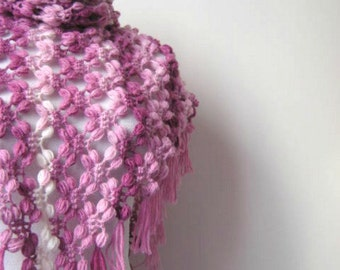 Pink, Purple, White Bubble Shawl - Warm Triangle Scarf Cowl - GIFT for HER - Ready to Ship