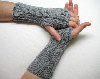 Winter Mittens - Gray, Grey Gloves, Armwarmers - Unisex Fingerless, Cable Knitting - Gift for Her, for Him - Ready for Shipping