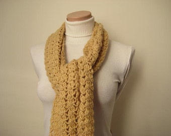 Fall Fashion - Light Brown Scarf Special Model - GIFT FOR HER - Ready to Ship - Wrap, Warm, Coffee Latte Scarf, Scarflette, Neckwarmer, Cowl