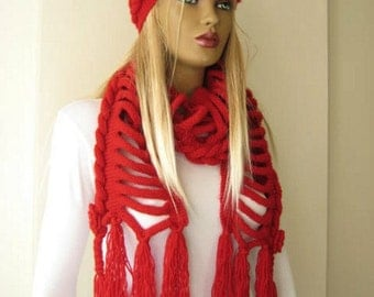 Red Fashion - Red Scarf and Hat - GIFT FOR HER - Wrap, Warm, Hot Claret Red Braid Winter Accessories - Ready to Ship