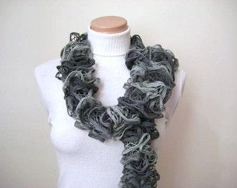 Scarf - Grey Frilly Scarflette, Neck Tissue, Rag, Neckwarmer, Foulard - Gift for Her - READY TO SHIP