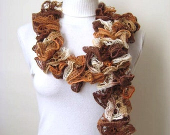 Scarf - Brown and Cream Frilly Scarflette, Neck Tissue, Rag, Neckwarmer, Foulard - Gift for Her - READY TO SHIP