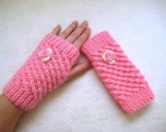 Pink Fingerless Gloves, Wristwarmers, Winter Mittens with Pink and Ivory Flower on it - Gift for Her - READY TO SHIP