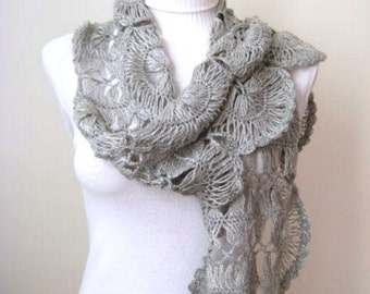 One of a Kind - Winter Fashion - Gray Scarf - GIFT FOR HER - Grey Scarf, Scarflette, Neckwarmer, Cowl - Ready for Shipping