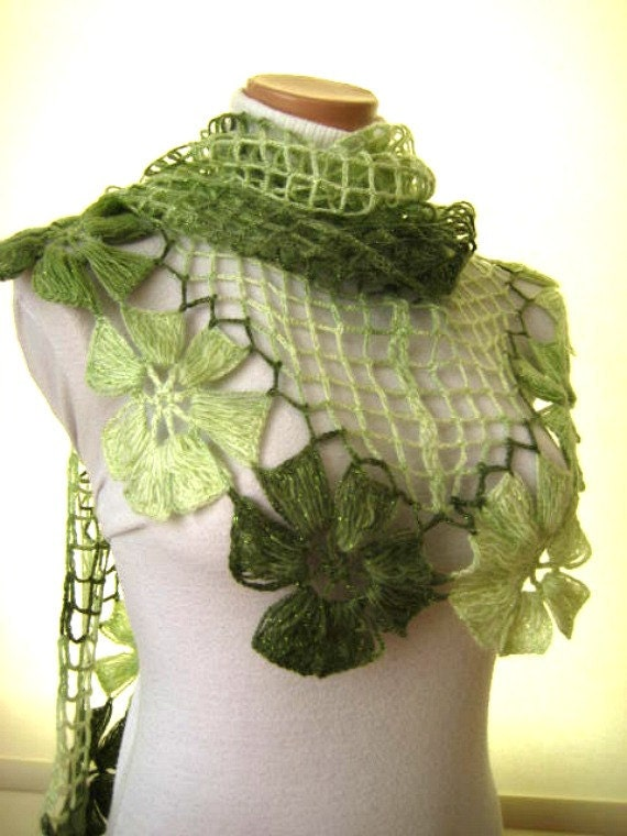Green Shawl - Crochet Shawl Floral Flower Triangle Accessories Scarf - Christmas Gift for Her, for Mom - Ready for Shipping