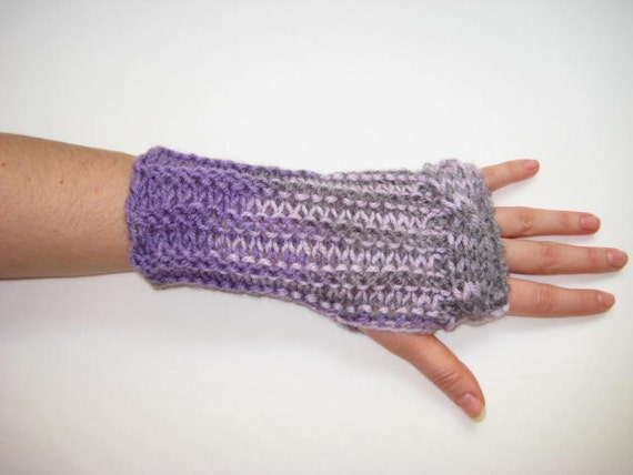 Winter Mittens - Lavender Fingerless Gloves, Armwarmers - Purple, Lilac, Violet Color Mittens Cable Pattern - Gift for Her - Ready to Ship