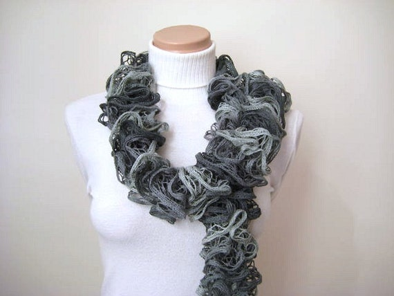 Scarf - Grey Frilly Scarflette, Neck Tissue, Rag, Neckwarmer, Foulard - Gift for Her - READY TO SHIP