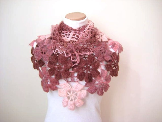 Pink Floral Shawl - Ready to Ship - Girly, Light, Powder, Blush and Dark Pink Triangle Accessories - Christmas Gift for Her
