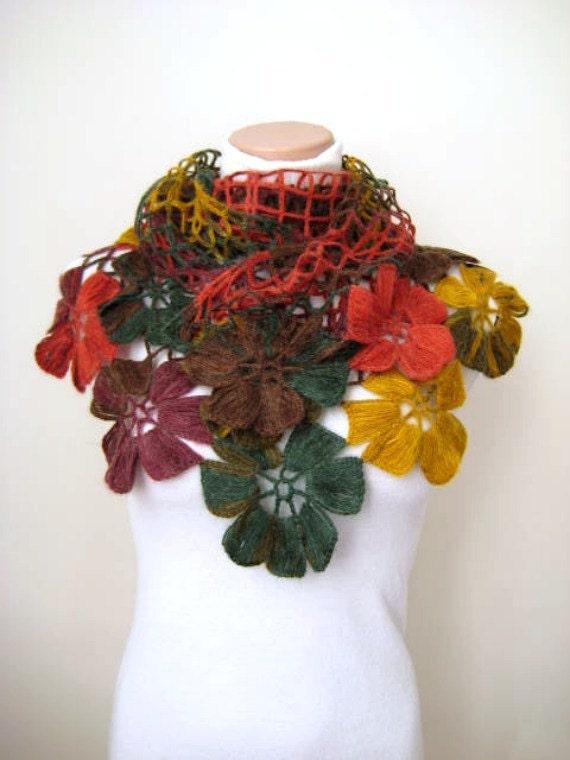 Colorful Flower Shawl - Red Green Yellow Brown and Purple Floral - Gift for Her - Express Shipping Option - Ready for Shipping