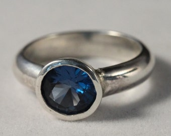 Sterling Silver Bezel Set Blue Zircon Ring