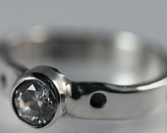 Sterling Silver Bezel Set CZ Ring