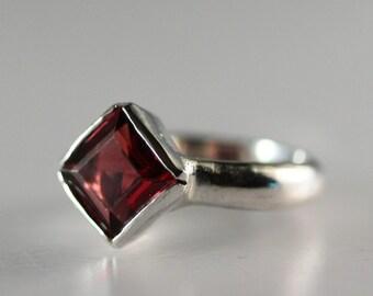 Sterling Silver Bezel Set Pyrope Garnet Ring