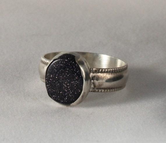 Sterling Silver Blue Goldstone ring