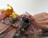 hand embroidered modern tulle cuff with beads