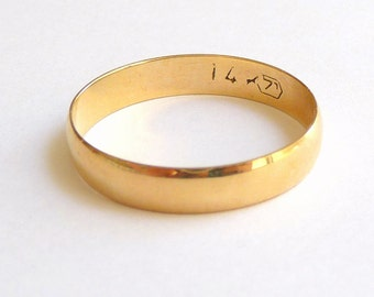Wedding band men wedding ring gold 4mm wide shiny polished finish  women 14k solid gold