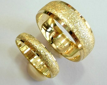 Wedding bands set wedding rings woman mens wedding band 14k yellow gold 4mm and 8mm wide rings