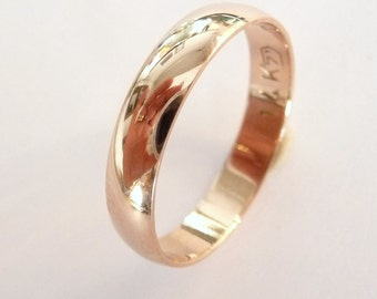 rose gold wedding band women and men wedding ring 4mm wide shiny
