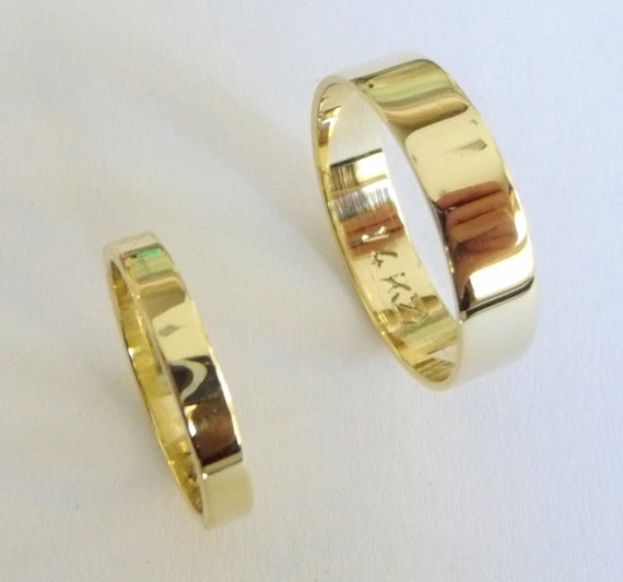 Wedding band set 14k gold wedding rings women men gold wedding bands flat shiny