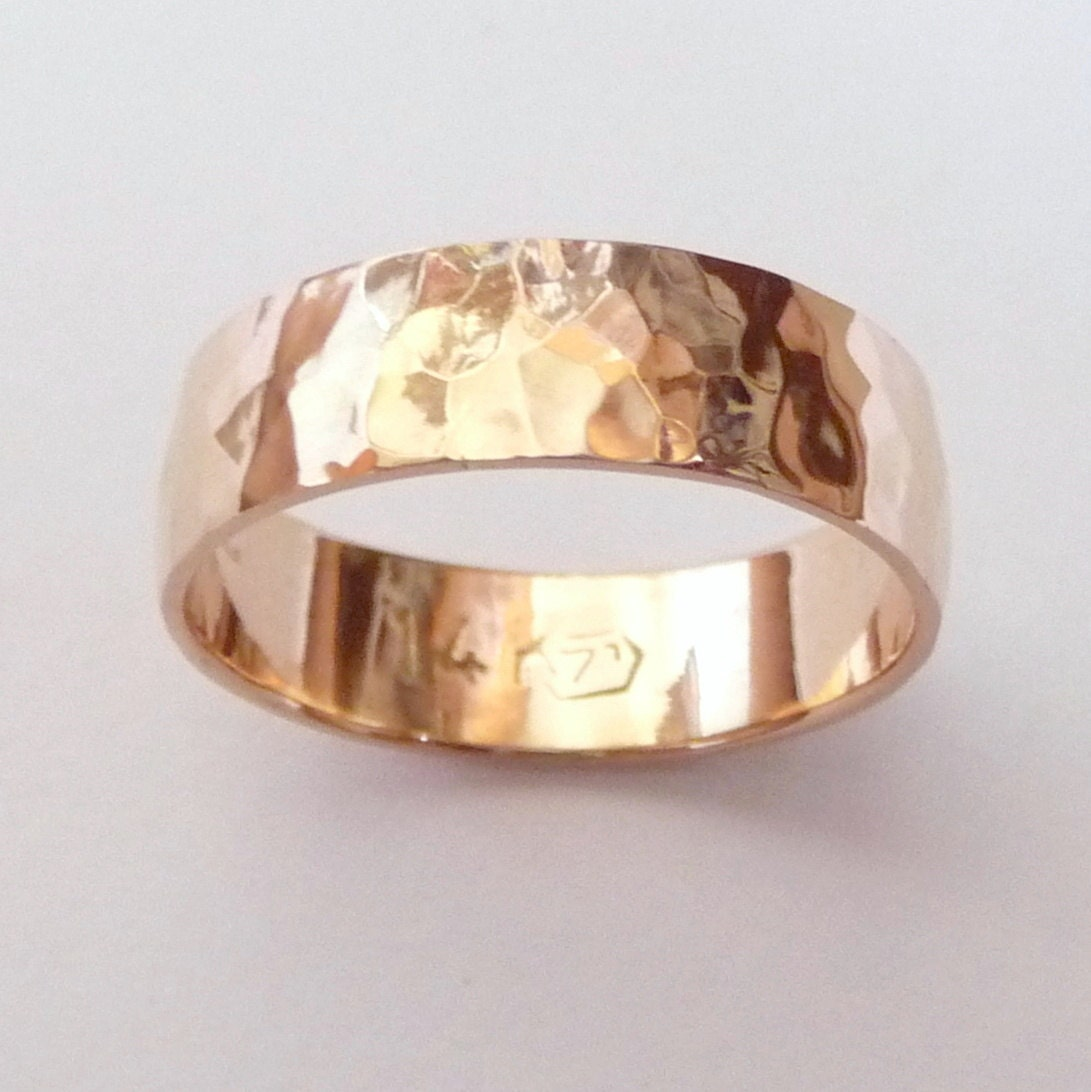 Men rose gold wedding band hammered wedding ring 6mm by havalazar