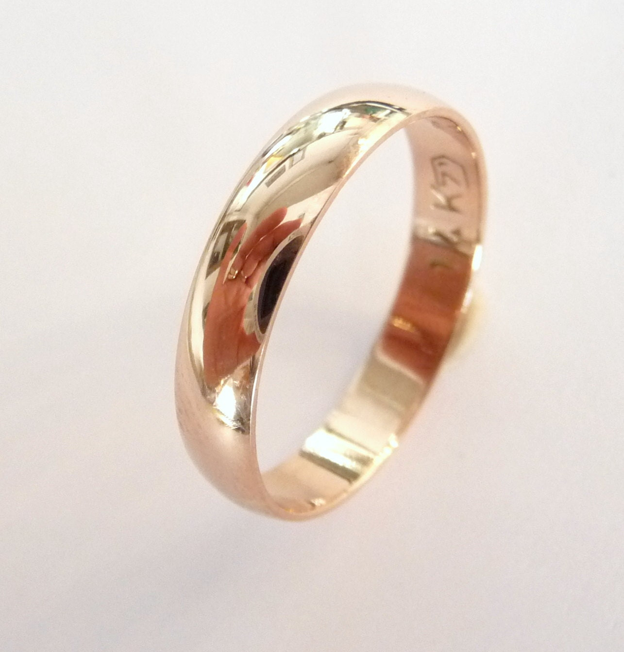 rose gold wedding band women and men wedding ring 4mm wide
