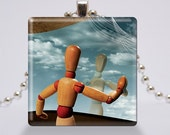Glass Pendant Necklace - Jewelry - Wearable Art - Surreal Photography - Instrospection