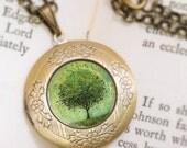 Green Tree Locket Necklace - Bronze Locket - Welcome Change (green) - Wearable Art with Bronze Chain