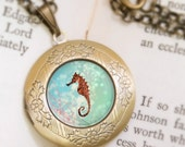 Seahorse Locket - Bronze Necklace - Wearable Art with Bronze Chain