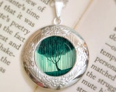 Weeping Willow Locket Necklace - Silver Locket - Tree Locket - Tree Jewelry - Wearable Art with Silver Chain