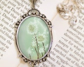 Dandelion Necklace - Silver Pendant - Perennial Moment (tea green) - Wearable Art with Silver Chain