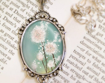 Dandelion Necklace - Silver Pendant - Perennial Moment - Wearable Flower Art with Silver Chain Pendant Jewelry