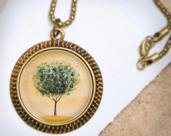 Tree Necklace - Bronze Pendant - Afternoon Calm - Wearable Art Necklace with Bronze Chain