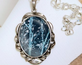 Forest Blossoms Necklace (blue) - Silver Pendant - Wearable Art with Silver Chain