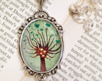 Love Blooms Tree Necklace - Silver Pendant - Wearable Art with Silver Chain