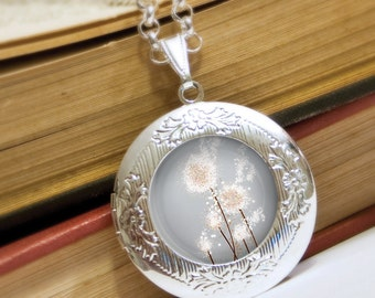 Silver Dandelion Locket Necklace - Silver Locket - Perennial Moment (silver) - Wearable Art with Silver Chain