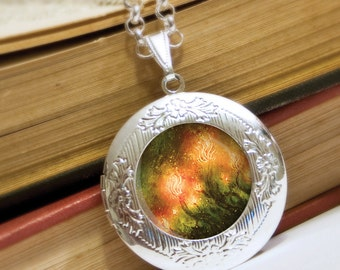 Fire Flowers Locket Necklace - Silver Locket - Wearable Art with Silver Chain