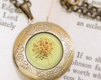 Olive Green Tree Locket Necklace - Bronze Locket - Candy Bubble Tree (Olive) - Wearable Art with Bronze Chain