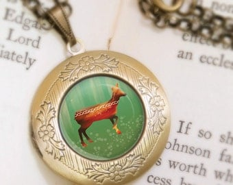 Deer Locket Necklace - Bronze Locket - Morning in the Forest - Wearable Art with Bronze Chain