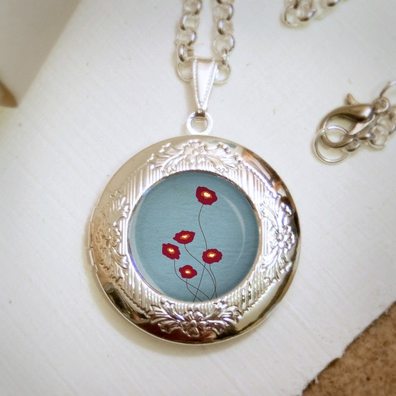 Red Poppies Locket Necklace - Silver Locket - Wearable Art with Silver Chain