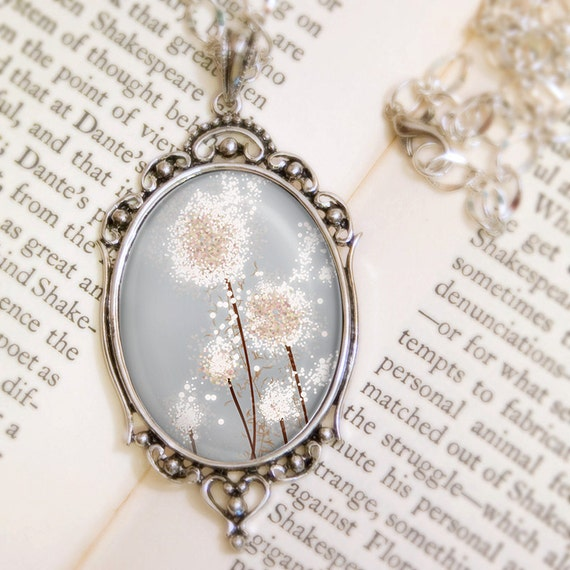 Dandelion Wedding Necklace (silver) - Silver Pendant - Perennial Moment (silver) - Wearable Art with Silver Chain