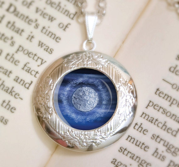 Full Moon Locket Necklace - Silver Locket - Wearable Art with Silver Chain