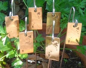 Garden Markers / Plant Stakes - Copper - Busy Bee Motif - Set Of Six - CUSTOM Handstamped