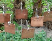 Garden Markers / Plant Markers - Copper - Feathered Friends - Set Of Six - CUSTOM Hand Stamped