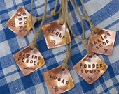Pantry Labels, Garden Motif, Hand Stamped Copper Tags For Kitchen, Set Of Six