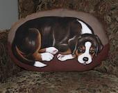 Greater Swiss Mtn Dog Puppy Handpainted Soft Sculpture Pillow