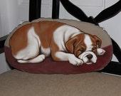 Bulldog Handpainted Soft Sculpture Pillow