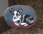 Cardigan Corgi Puppy Handpainted Soft Sculpture Pillow