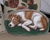 Wire Coated Jack (Parson) Russell Terrier Handpainted Soft Sculpture Pillow