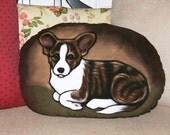 Cardigan Puppy Handpainted Soft Sculpture Pillow
