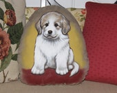 Great Pyrenees Puppy Handpainted Soft Sculpture Pillow