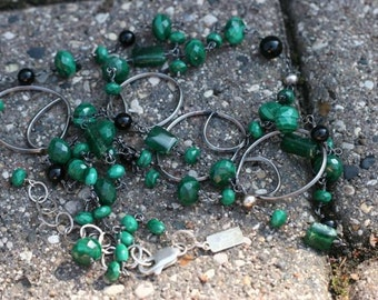 Long Malachite and Black Onyx, w/ Hand Formed Sterling Links, OOAK